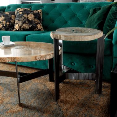 Ława i stolik ze skamieniałego drewna