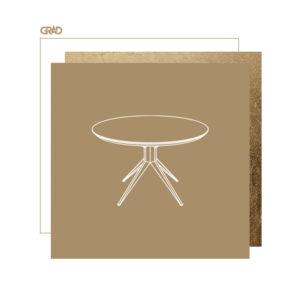 Okrągły stół z palonym drewnem