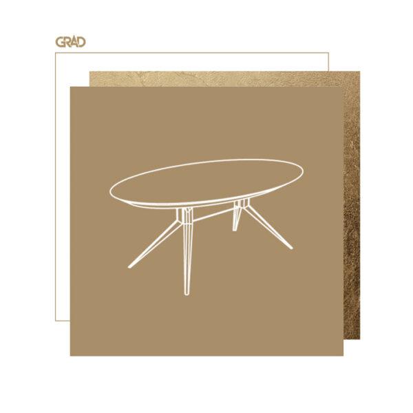 Owalny stół z betonowym blatem
